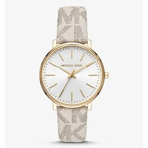 NEW Michael Kors Pyper Logo Gold Tone Watch MK2858